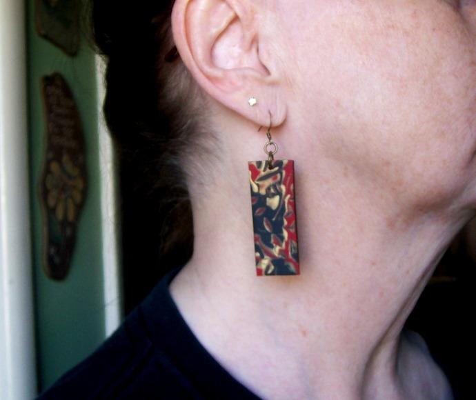 Faux Stone Polymer Clay Dangle Earrings Handmade