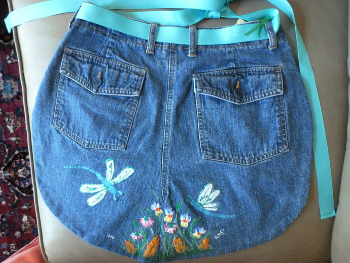 Half Apron, Upcycled Denim, Dragonflies,  Handmade and Hand Painted Half Apron