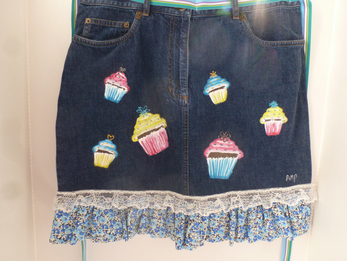 Half Apron, Colorful Cupcakes on a Handmade and  Painted Denim Half Apron -