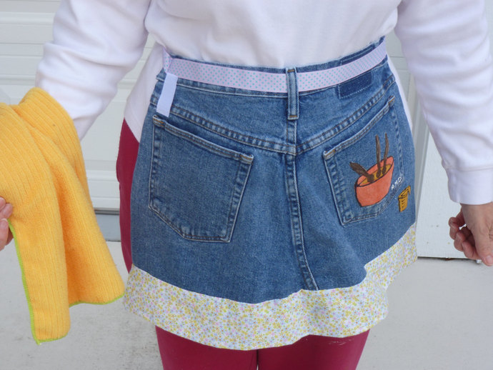 Half Apron, Upcycled Denim, Baking Time, Handmade and Hand  Painted Half Apron