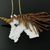 Bead loomed pendant white Unicorn with flying golden mane