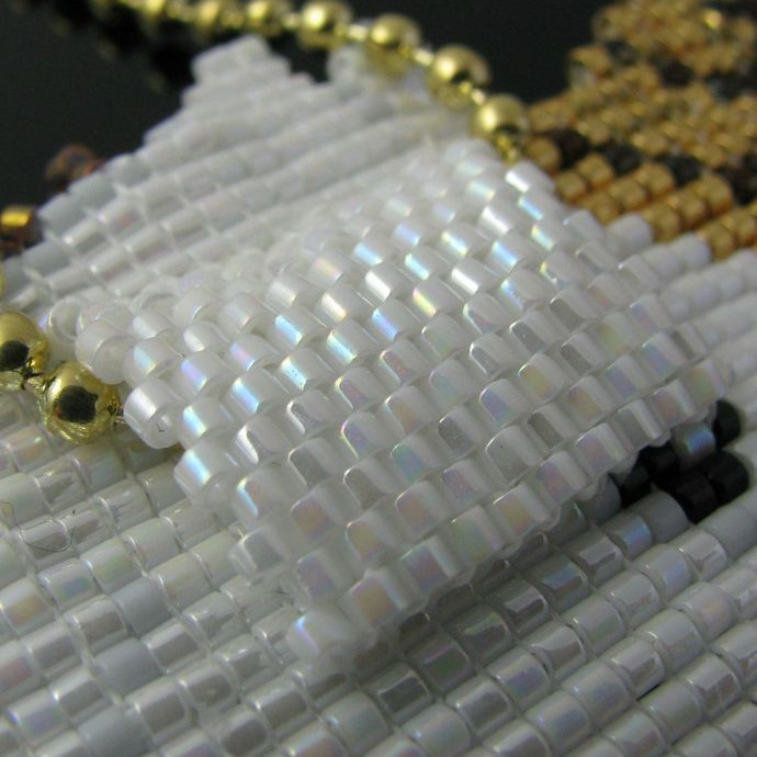 Bead loomed pendant white Unicorn with flying golden mane