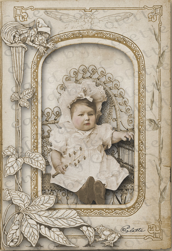 Beautiful Baby in Wicker Chair Digital Collage Greeting Card5546