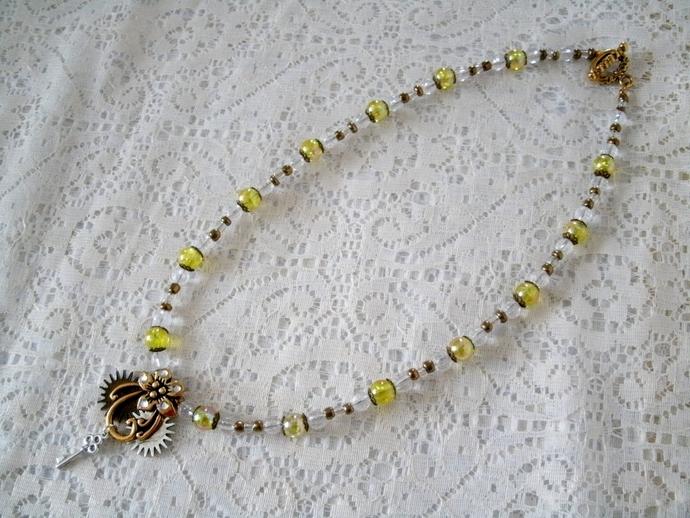 Steampunk Flower Necklace, steampunk jewelry victorian edwardian neo victorian