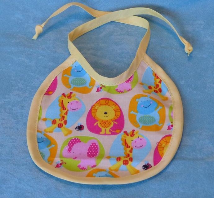Baby Bib,  Safari Cream cotton fabric bib, colorful animal designed fabric,
