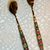 Gold Spoon and Fork Colored Floral Embossed handles #E-0064