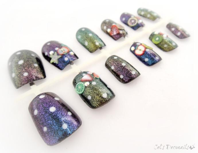 Sparkly polka dot fruit Japanese style nails