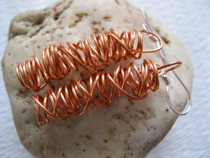 Coiled copper wire earrings, copper dangle earrings, copper earrings, long