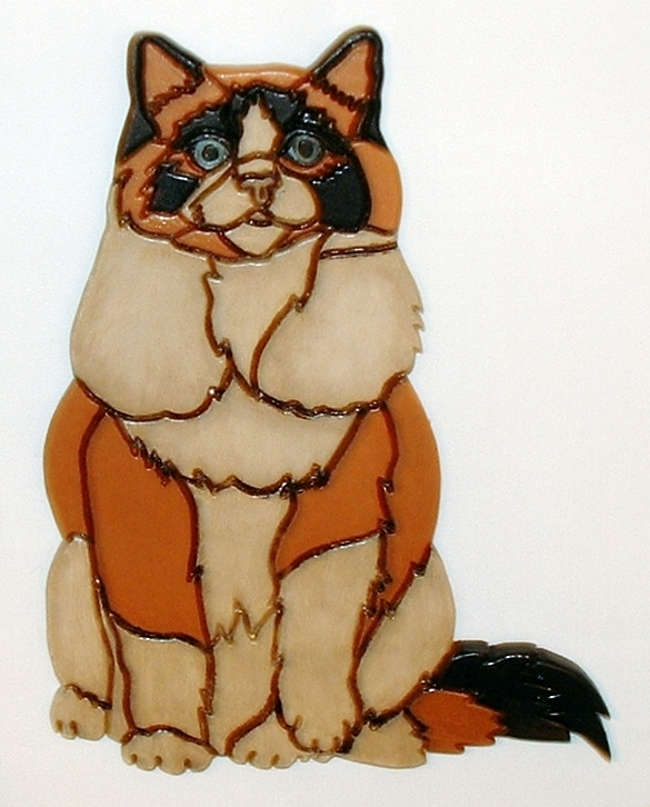 Wood Intarsia Sculpture Cat, Wall Art for your Home Decor.