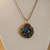 Blue and verdigris copper dragon eye steampunk pendant