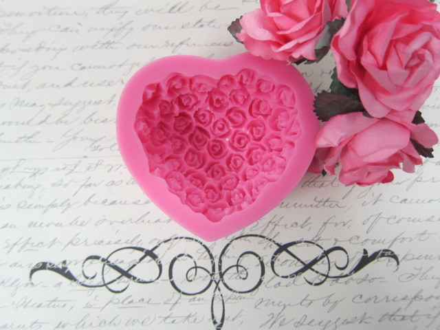 Roses Heart Silicone mold Soft Silicone Mold Fondant Mat Cake Decorating Cupcake