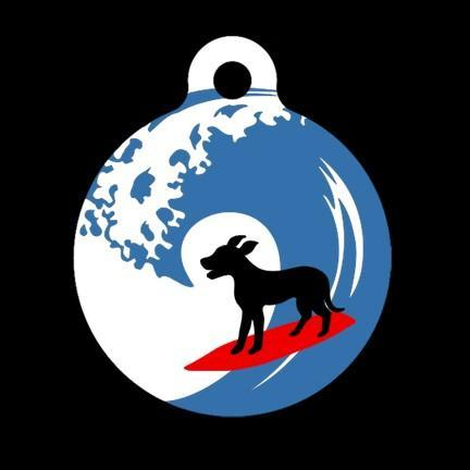 Surfing Dog Pet Tag, Luggage Tag, Child ID Tag