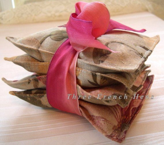 Lavender Sachets Hydrangea Florals Set of 2 Shabby Pillows