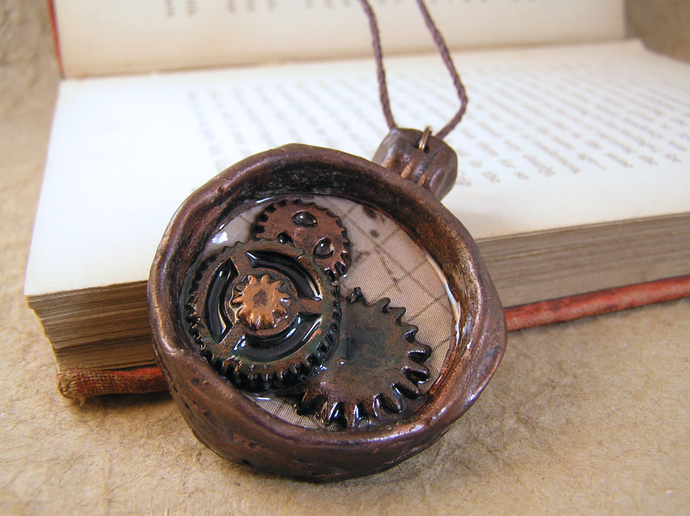 Steampunk gears and map bezeled compass pendant