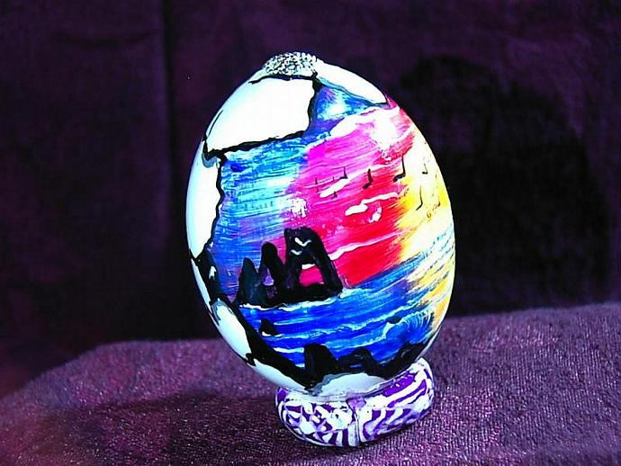 Hand painted egg- 'Other World Egg- California Dreaming' on a permanent stand