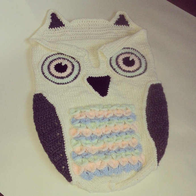 Baby Knitted Cocoon With Owl Crochet By The Morning Whisper On