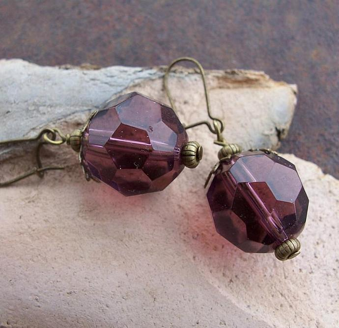 Big Juicy Faceted Grape Glass Bead Earrings