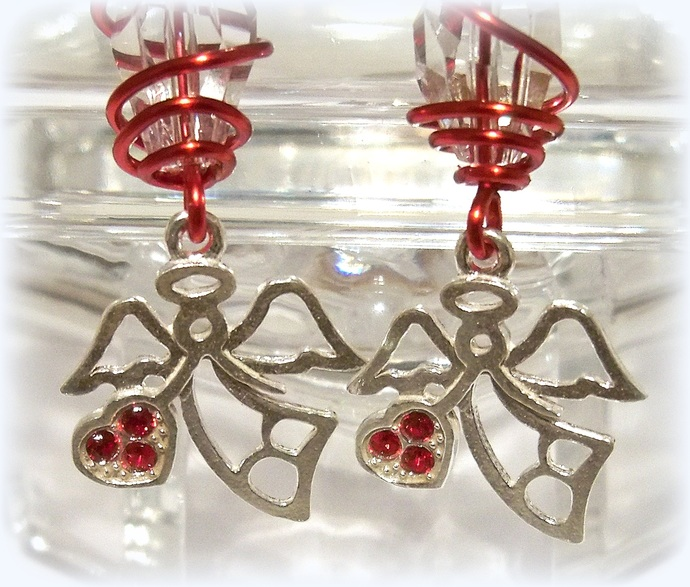 Silver Angels and Hearts Earrings