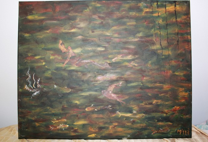 """Like fish in the Water, Oil, 20"""" x 16"""" in."""