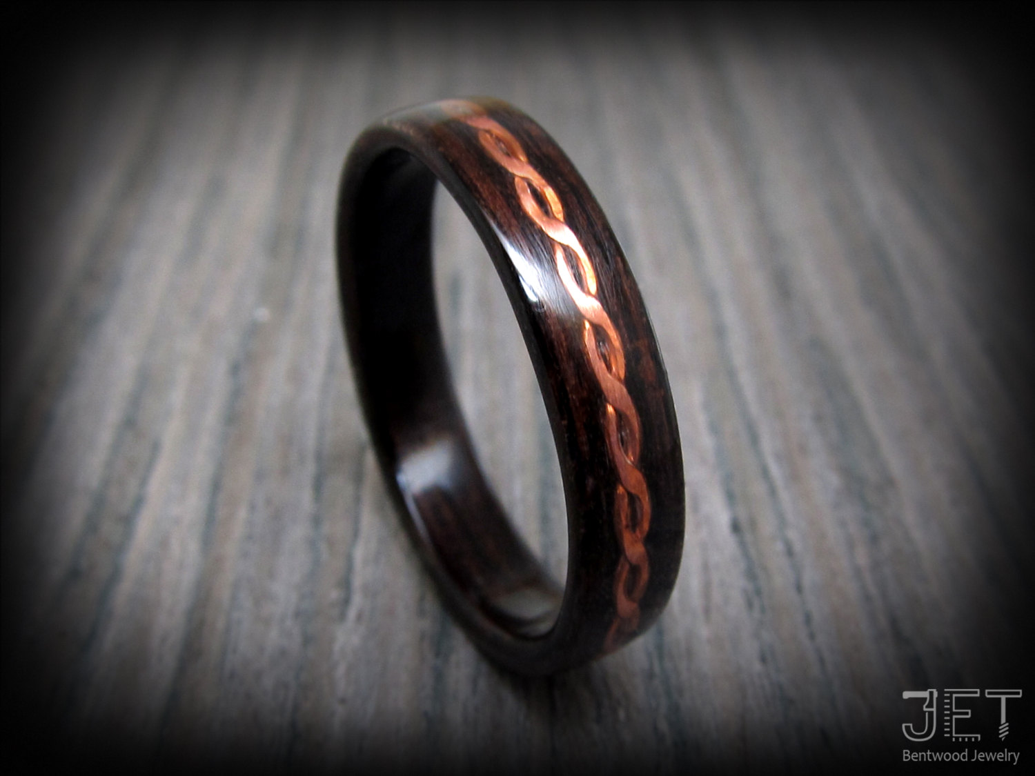 Steam Bent-Wood Ring, Macassar Ebony by JET Bentwood Jewelry on Zibbet