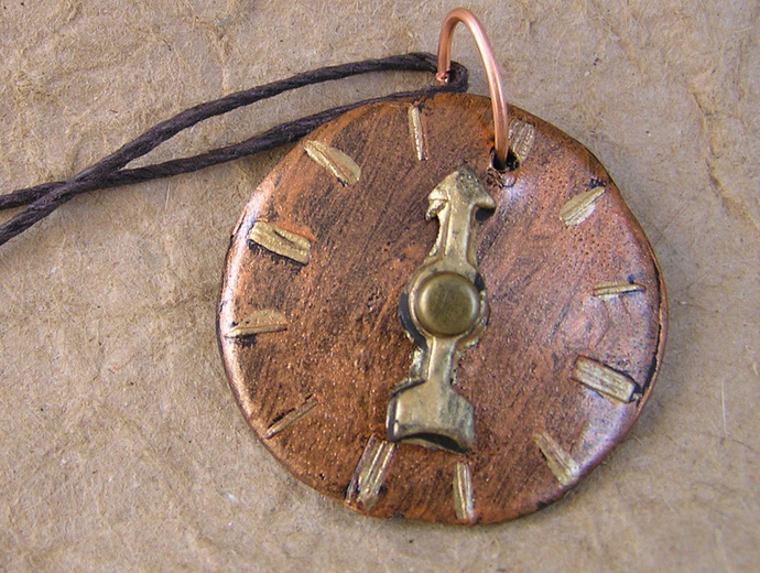 Steampunk watchface pendant in copper and gold