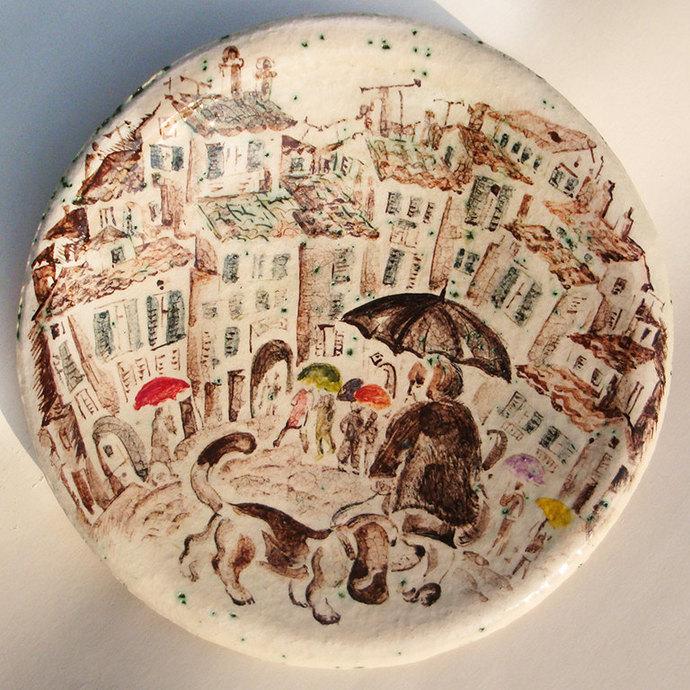 Hand Painted Ceramic Plate ceramic platterdog platedog platterItaly & Hand Painted Ceramic Plate ceramic by NatVasCeramics on Zibbet