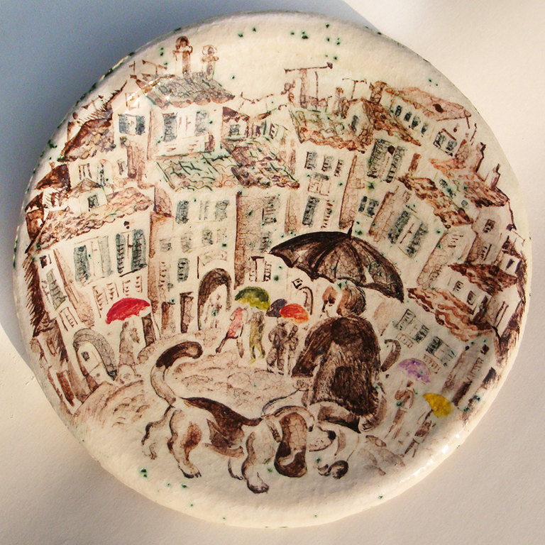 & Hand Painted Ceramic Plate ceramic by NatVasCeramics on Zibbet