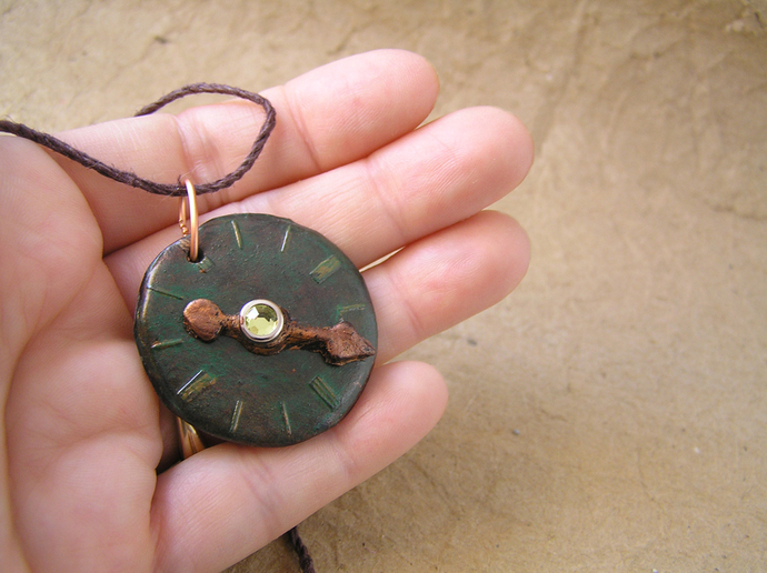 Steampunk watchface pendant in verdigris copper with yellow gem center