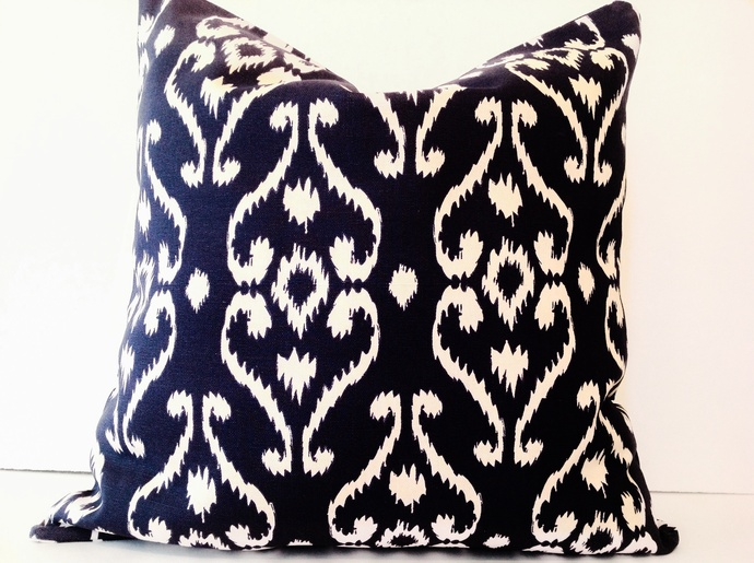 Navy blue, Ikat pillow cover, 20x20 inches size, designers pillow,handmade