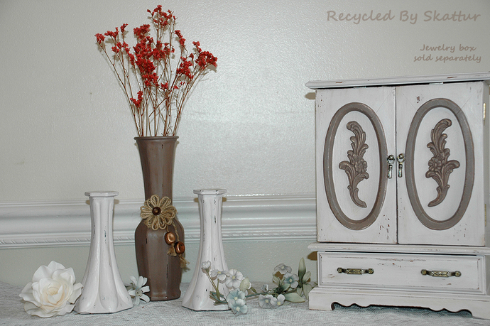 Set of 3 Hand Painted Glass Vases in a Shabby Cottage Chic Style