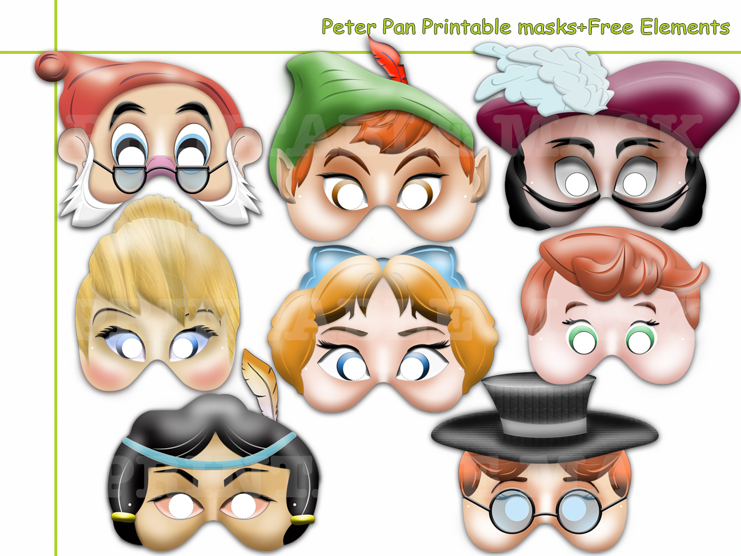 Unique Unique Peter Pan Printable Masks by HolidayPartyStar on Zibbet AT86