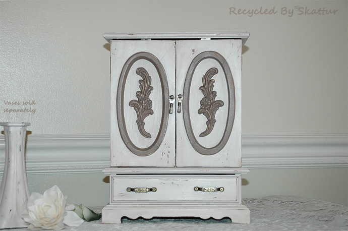 Revitalized Shabby Cottage Chic Style Dresser Top Handpainted Jewelry Box