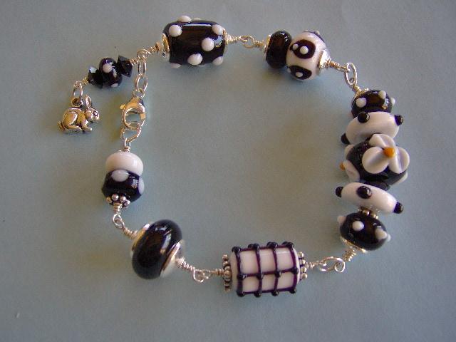 Lampwork and Sterling Silver Bracelet-Artisan Bracelet-Alice In Wonderland