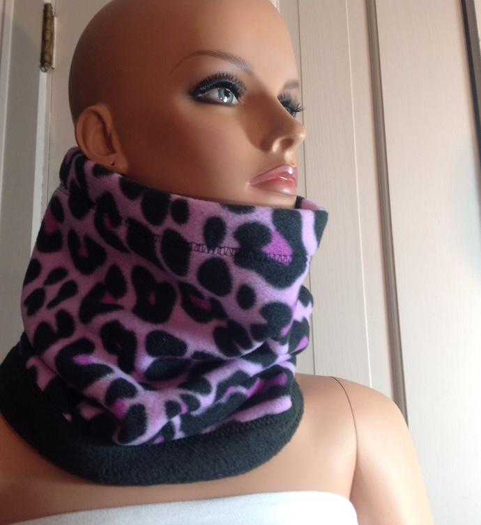 Neck Warmer. Purple and black. Reversible. Scarf Ski neck gaiter. Ski gift.