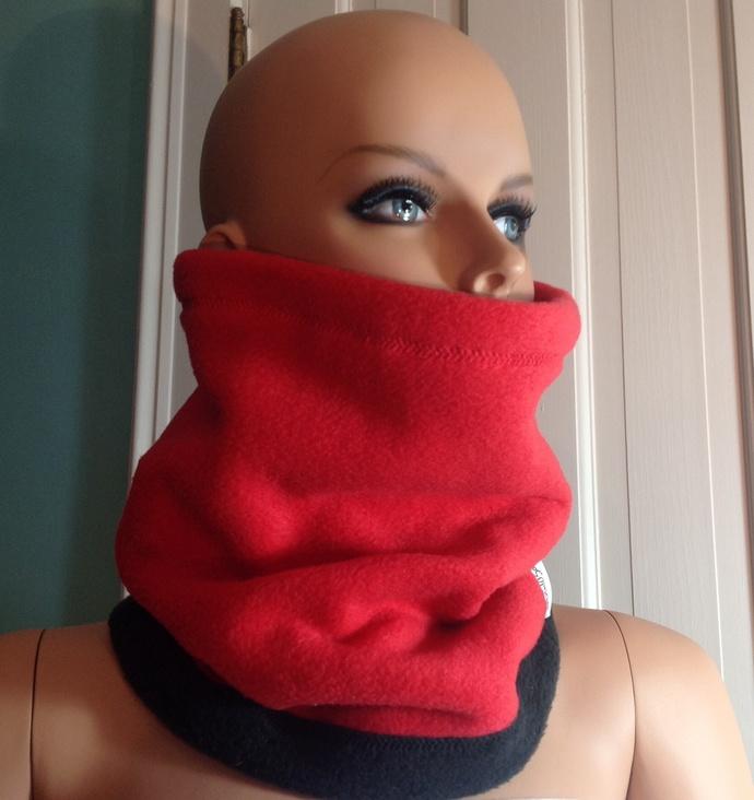 Neck Warmer. Red and black. Reversible. Scarf Ski neck gaiter. Ski gift. Red