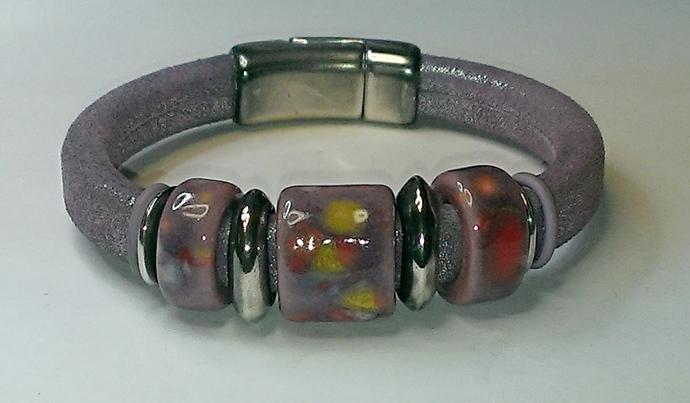 Orchid Licorice Leather Bracelet, Item #1453