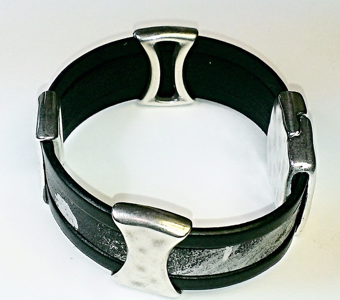 Euro Italian Leather Bracelet, Item #1455