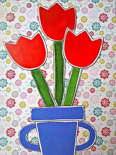 Farsi Thank You Bouquet of Red Tulips Card