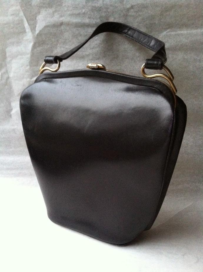 Black Leather Dofan Evening Bag