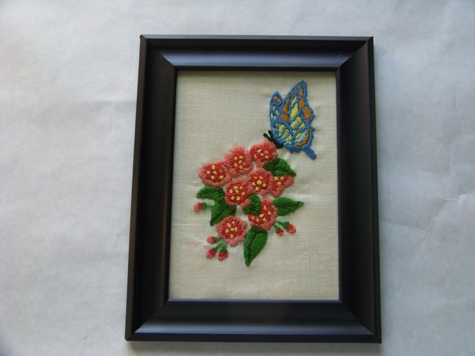Butterfly with Flowers Embroidery