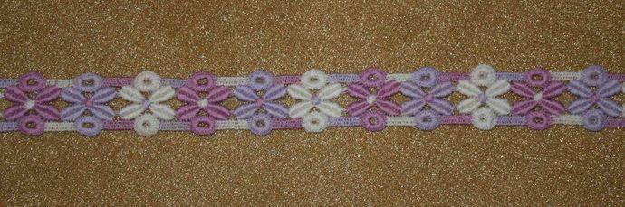 Pastel Appliqued Floral Trim #T-0083