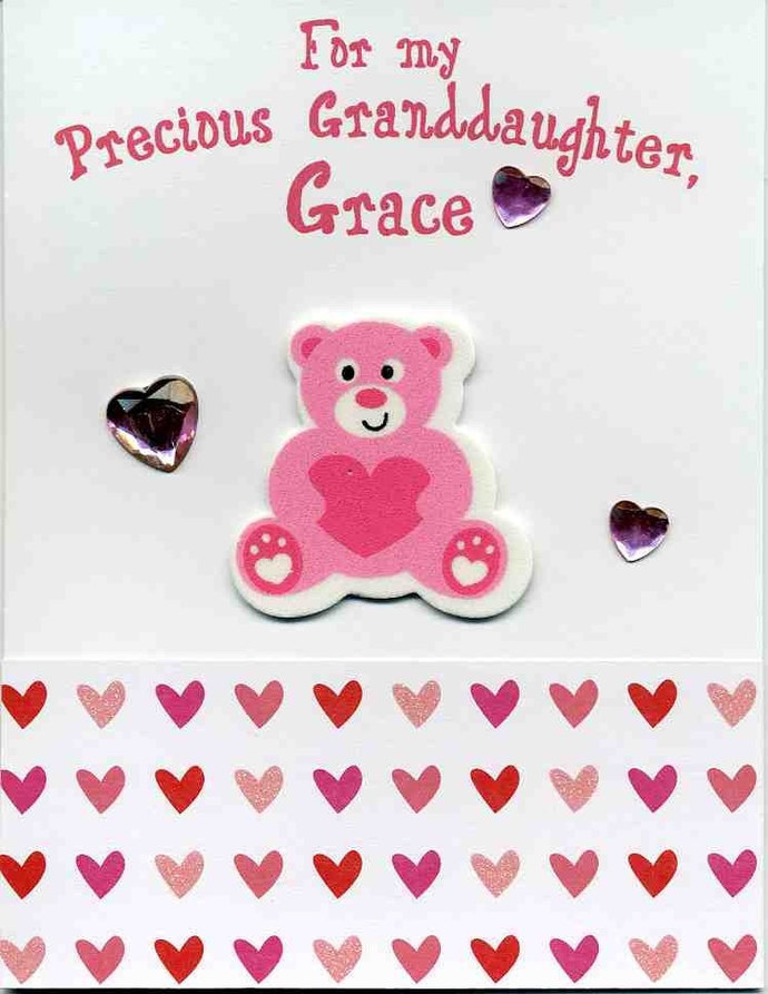 Personalized valentine card with bear by kards by kaylee on zibbet personalized valentine card with bear daughter niece granddaughter m4hsunfo