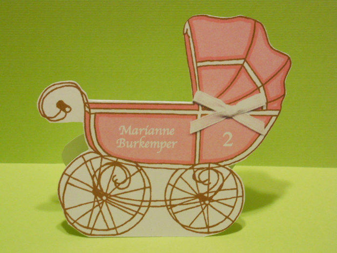 Baby Carriage Shaped Place Card - Baby Shower