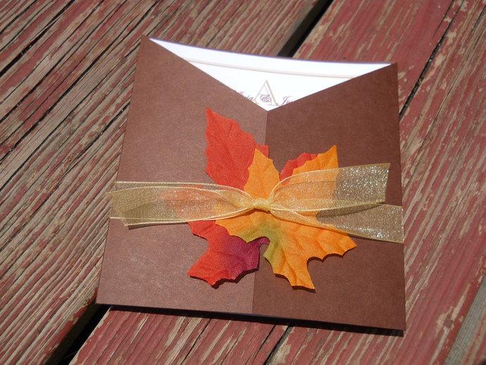 Fall Leaves Square Wedding Invitation