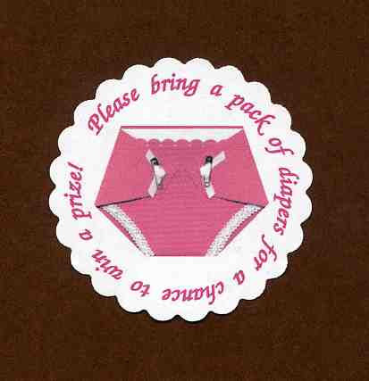 Pink Diaper Baby Shower Tags - Invitation Insert