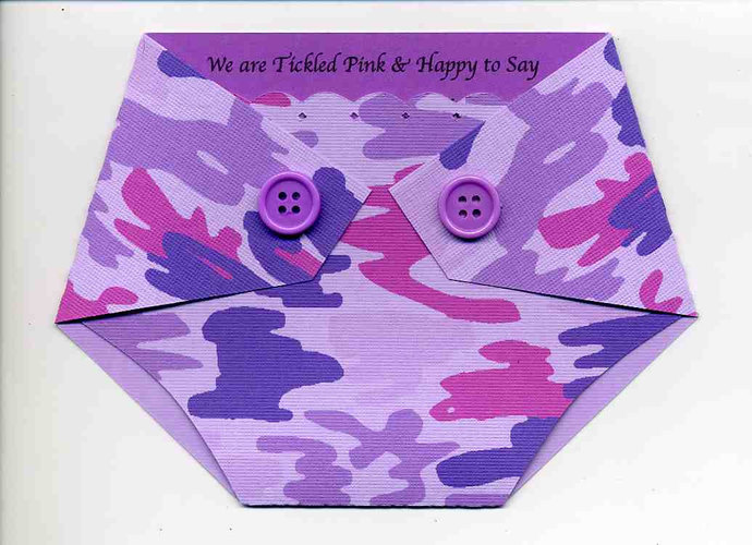 Purple Camo Diaper Shaped Baby Shower By Kards By Kaylee On Zibbet