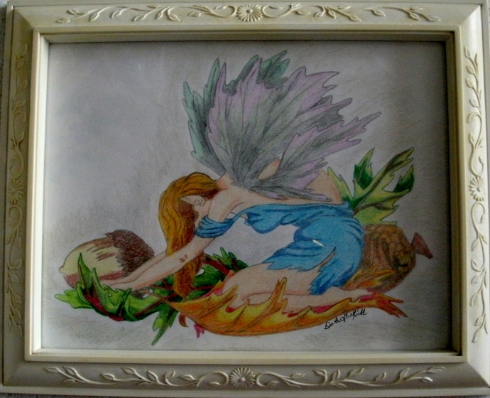 Autumn Fairy Pastel Drawing, fine art, original, fantasy, celtic, wall