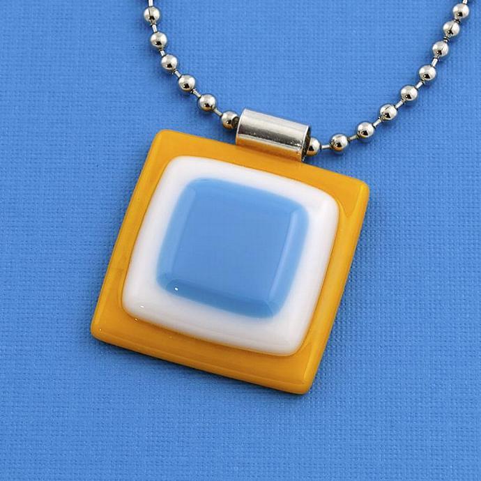 Fused Glass Pendant in Orange White and Blue