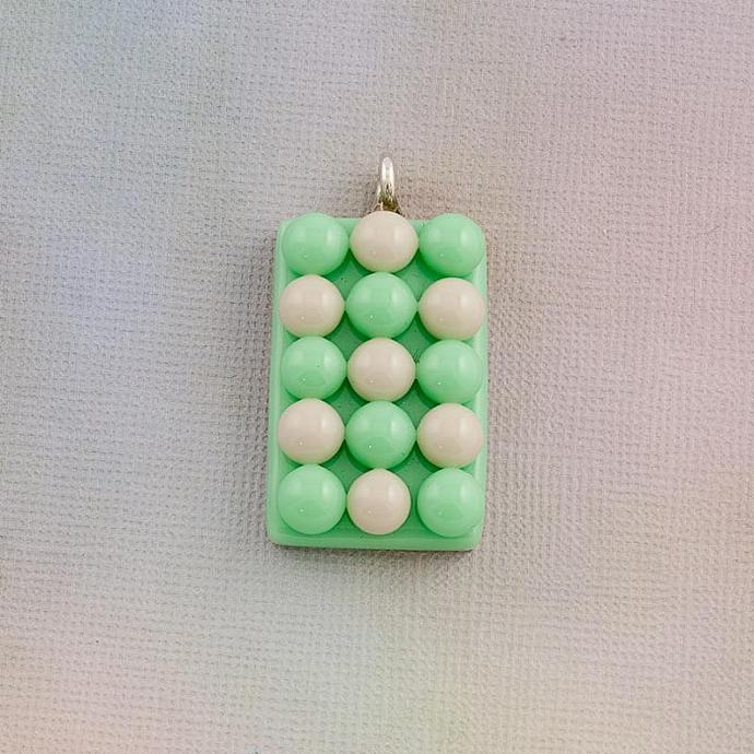 Fused Glass Pendant in Mint Green and Lilac