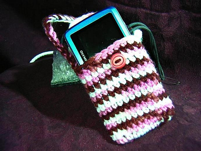 Trendy chocolate, pink, and cream cell phone, ipod, or camera cozy